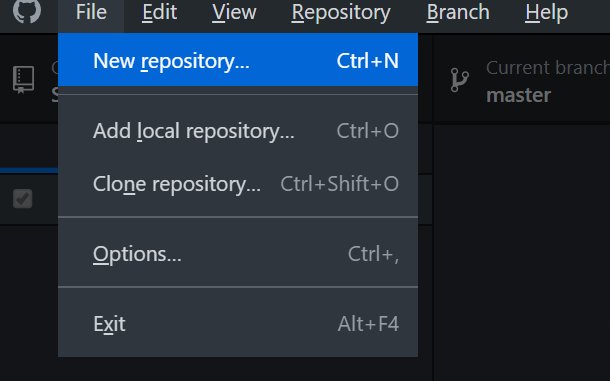 GitHub Desktop - Creating a new repository