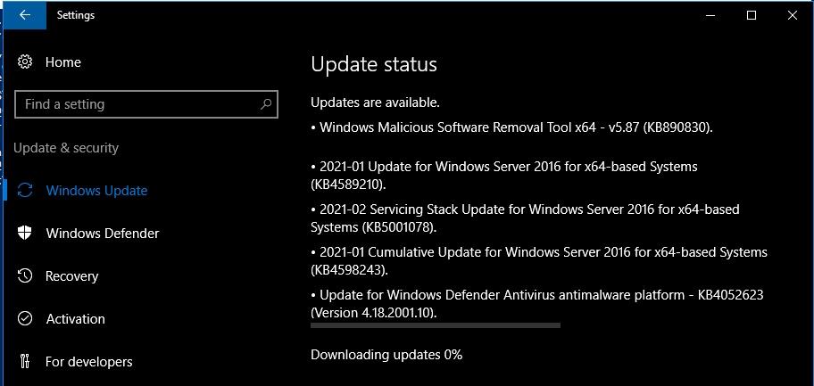 Server 2016 gobbling up any update it sees