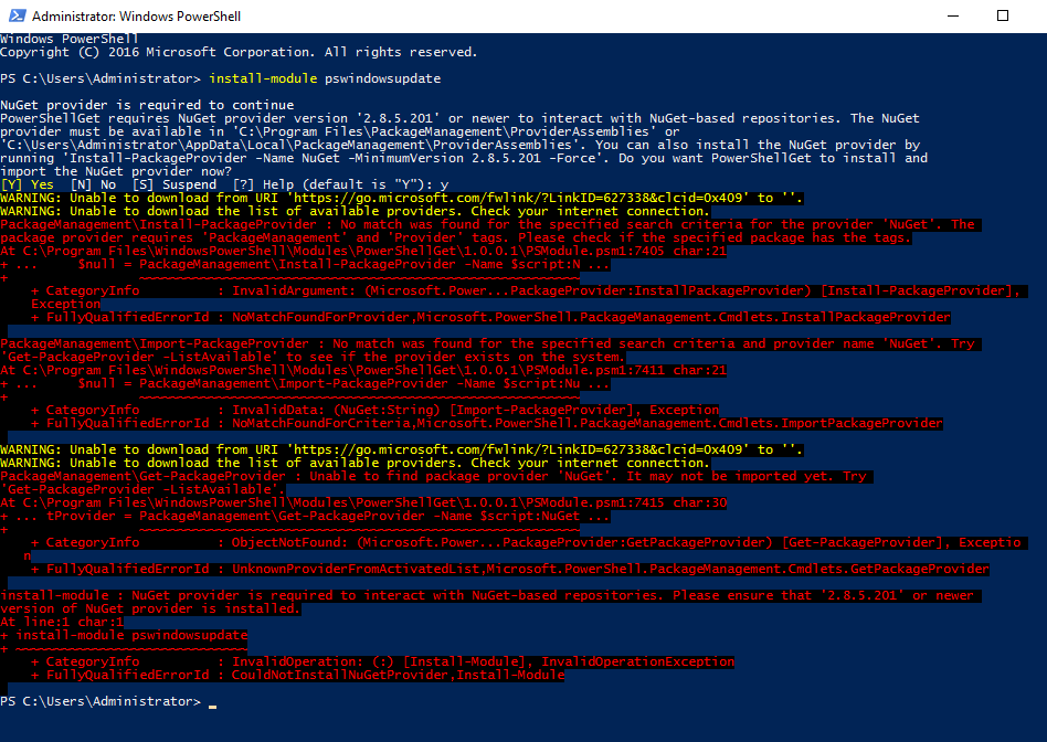 Attempting to install PSWindowsUpdate before updating the .NET Service Point Manager TLS version.